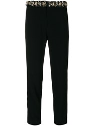 Msgm Embellished Trim Cropped Trousers Women Polyester Acetate Viscose 42 Black