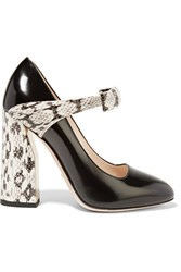 Gucci Bow Embellished Elaphe And Leather Pumps Black