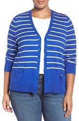 Sejour Plus Size Women's V Neck Pocket Cardigan Blue White Stripe