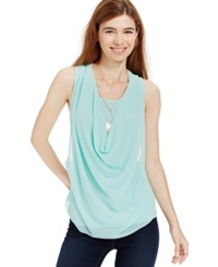 Amy Byer Bcx Juniors' Draped Chiffon Front Tank Top Mint