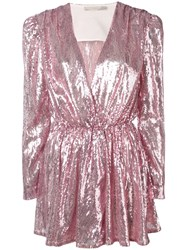 Amen Sequinned Wrap Dress Pink