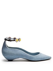 Fabrizio Viti Flat 'N' Fab Daisy Applique Flats Light Blue