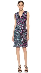 J. Mendel Sequined V Neck Dress Blue Print