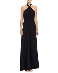 Jill Jill Stuart Open Back Halter Gown Black