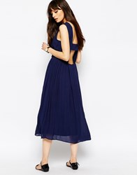 Paisie Cotton Midi Dress With Open Back Navy