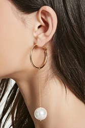 Forever 21 Faux Pearl Drop Earrings Gold Cream