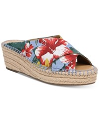 Franco Sarto Polina Espadrille Platform Wedge Sandals Created For Macy's Women's Shoes Light Blue Floral Fabric