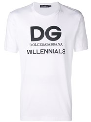 Dolce And Gabbana Logo Printed T Shirt White