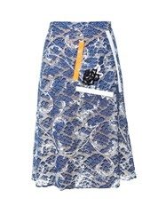 Christopher Kane Tape And Sequin Embellished Lace Skirt Navy Multi