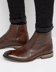 Asos Chelsea Boots In Brown Leather With Natural Sole And Zip Detail Brown