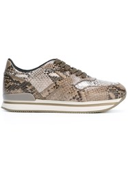 Hogan Snakeskin Effect Sneakers Nude And Neutrals