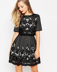 Asos Placed Crop Top Lace Mini Skater Dress Black