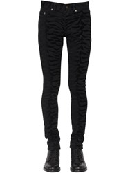 Saint Laurent 15Cm Zebra Skinny Cotton Denim Jeans Black