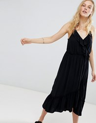 Maison Scotch Ruffle Tiered Midi Dress 08 Black