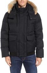 Marc New York Bohlen Down And Feather Bomber Jacket With Removable Genuine Coyote Fur Trim Hood Black