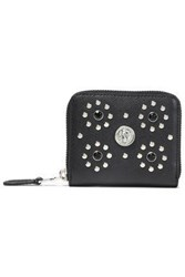 Versus By Versace Woman Studded Textured Leather Wallet Black