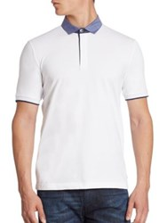 Armani Collezioni Pique Polo With Trim White
