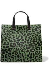 Clare V. V Petit Leopard Print Calf Hair And Leather Tote Green