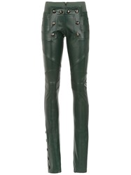 Andrea Bogosian Leather Skinny Trousers Green
