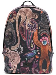 Paul Smith Monkey Print Backpack Men Leather Polyester One Size