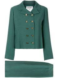 Chanel Vintage 1998 Double Breasted Skirt Suit Green