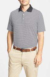 Men's Peter Millar 'Competition' Stripe Stretch Microfiber Golf Polo Black