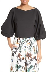 Tibi Women's Agathe Bell Sleeve Crop Top
