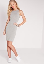 Missguided Jersey Racer Bodycon Dress Grey Grey