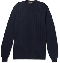 Loro Piana Cable Knit Baby Cashmere Sweater Midnight Blue