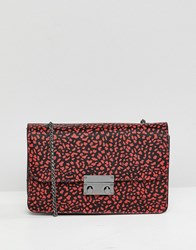 Bershka Animal Printed Bag With Chain Handle In Red