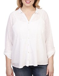 Lucky Brand Plus Cotton Blend Button Front Shirt Bright White