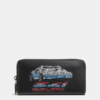 Coach Accordion Zip Wallet In Glovetanned Leather With Car Embellishment Black Copper Black