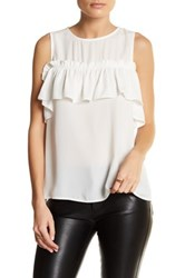 Blvd Sleeveless Ruffle Blouse Beige