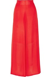 Rosetta Getty Silk Chiffon Wide Leg Pants Red