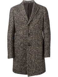 Tagliatore Single Breasted Tweed Coat Brown