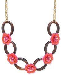 Kate Spade New York Gold Tone Crystal Accent Flower Statement Necklace Pink Multi