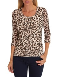 Betty Barclay Animal Print Layered Top Beige Black