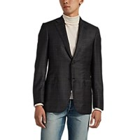 Brioni Ravello Plaid Worsted Wool Two Button Sportcoat Medium Gray