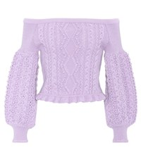Valentino Cropped Off The Shoulder Wool Sweater Pink