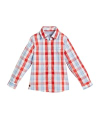 Mayoral Long Sleeve Check Button Down Shirt Size 4 7 Red