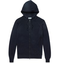John Smedley Medley Rickon Merino Wool Zip Up Hoodie Midnight Blue