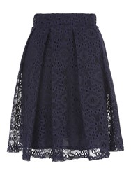 Jane Norman Navy Lace Pleated Skirt Midnight Blue