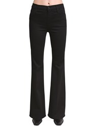 Mother Doozy Flared High Rise Cotton Jeans Black