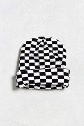 Urban Outfitters Uo Checkered Beanie Black White