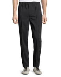 Alexander Wang Cotton Trousers With Washable Leather Trim Black