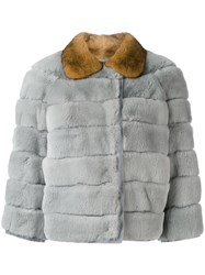 Red Valentino Horizontal Panelled Coat Women Mink Fur Rabbit Fur Polyester 42 Green