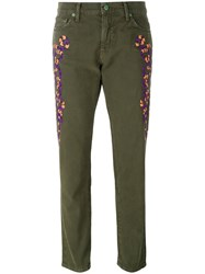 Sandrine Rose Embroidered Slim Fit Trousers Green
