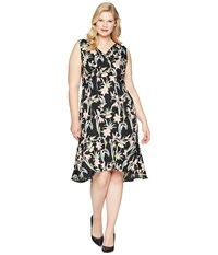 Unique Vintage Plus Size Gloria Wiggle Dress Black Pink Floral Multi