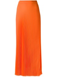 Haider Ackermann Long Pleated Skirt Women Polyester 40 Yellow Orange