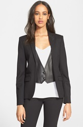 The Kooples Leather Trim Stretch Wool Jacket Black